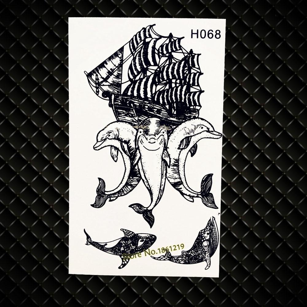 Dolphin Henna Tattoo: Temporary Tattoo Dolphin Designs Fake Flash Waterproof