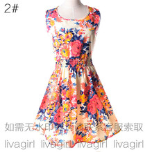 Summer Style Women Dress Casual Mini O-Neck Sleeveless Short A Line Dress Printed Party Evening 2017 big Size Elegant Dress