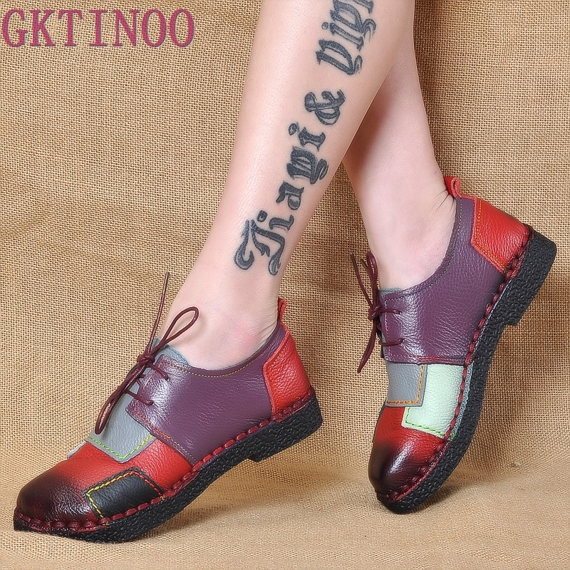 Women's Handmade Shoes Genuine Leather Flat Lacing Mother Shoes Woman Loafers Soft Single Casual Shoes Women Flats