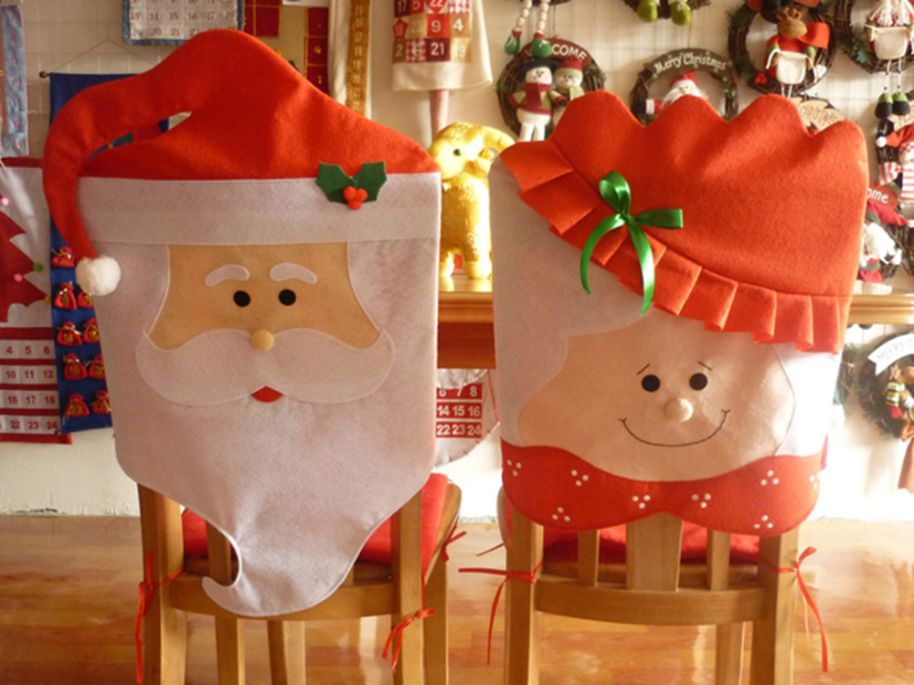 Lovely Mr Mrs Santa Claus Christmas Red Hat Dining Room Chair Cover Seat Back
