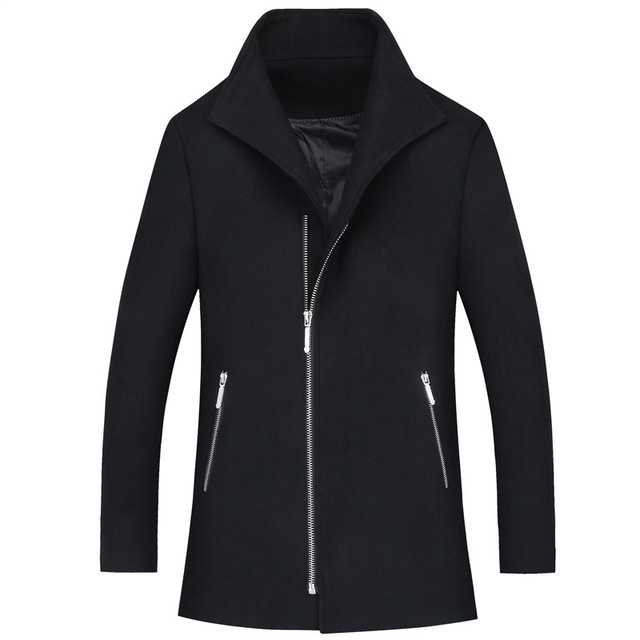 2016 Winter New Slim Quality Redingote Homme Long Slim Wool Blend Trench Jacket