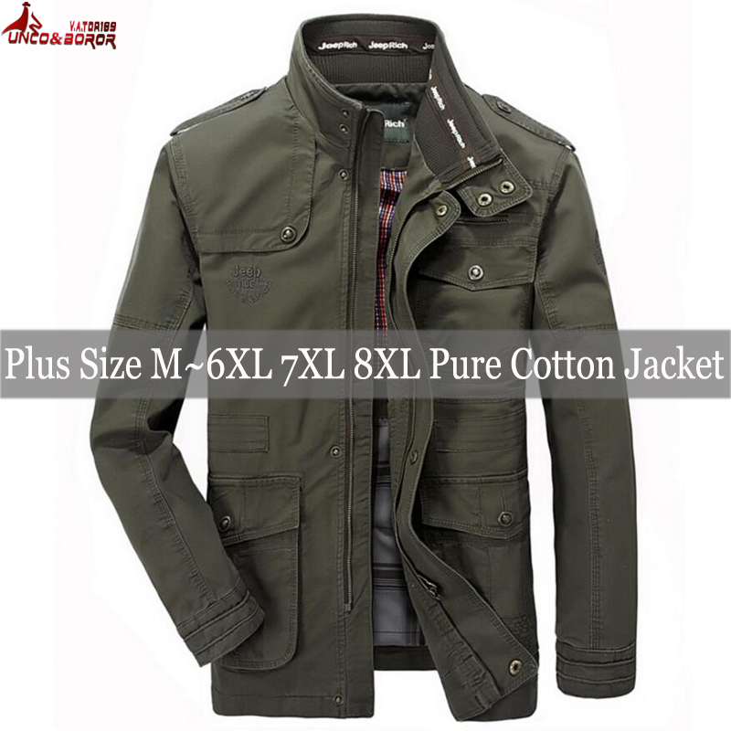 Image 3 - plus size 6XL 7XL 8XL 100% cotton Jackets Men Military Cargo Jackets Tactical Combat Business male Coat Pilot Bomber Jackets men-in Jackets from Men's Clothing