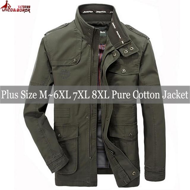 plus size 6XL 7XL 8XL 100% cotton Jackets Men Military Cargo Jackets Tactical Combat Business male Coat Pilot Bomber Jackets men 3