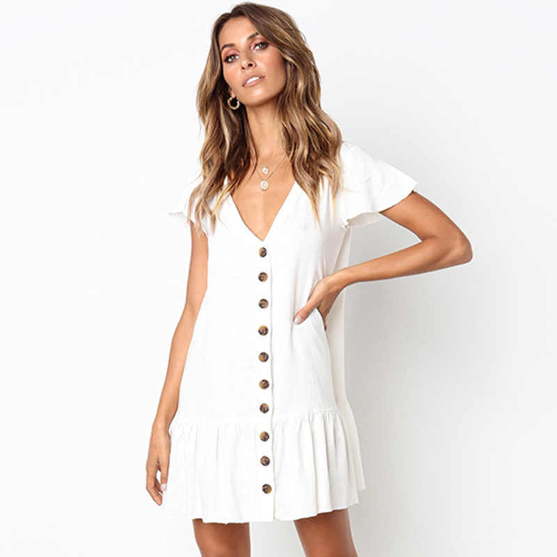 Повседневное пляжное платье 2019 с коротким рукавом летнее Мини-Платье С v-образным вырезом на пуговицах сарафан с карманом винтажное однотонное платье-рубашка