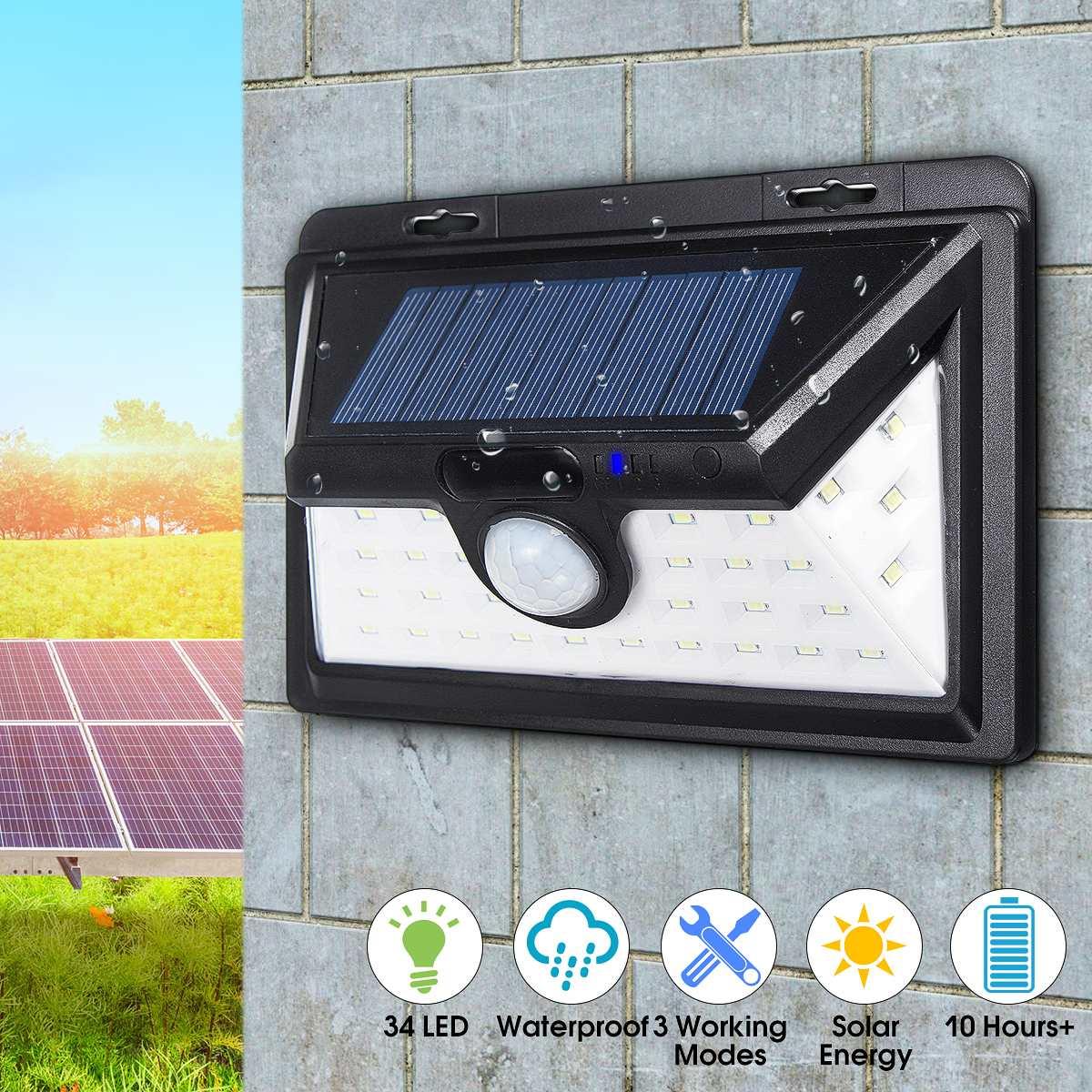 PIR Motion Sensor 34 LED Solar Power Solar Light Light Motion Sensor Outdoor Security Wall Lamp Garden Light Waterproof ds 360 solar sensor led light black