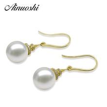 AINUOSHI Natural Freshwater White 7.5-8mm Pearl SI1-G/H Diamond Drop Earrings 18K Solid Yellow Gold Women Ear Hook Earrings Gift