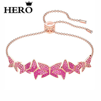 HERO Original Copy High Quality 1:1 SWA Pink Butterfly Plated Rose Gold Shrink Bracelet With Logo Envelope