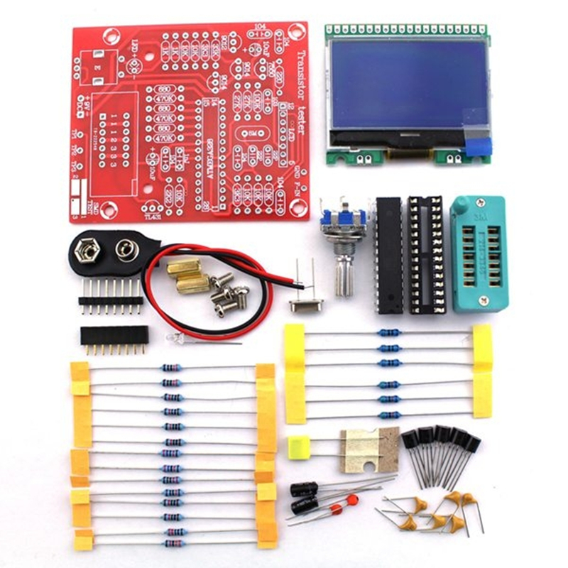 Digital Combo electronic Component kit M8 Transistor Tester Capacitor LCR  Diode Capacitance ESR meter PWM Square wave 12864 LCD