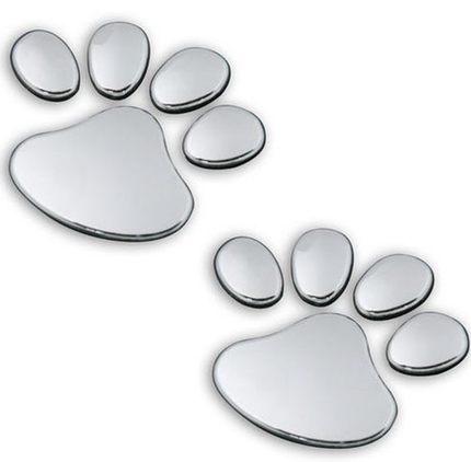 2 шт. автомобиля Стикеры 3D Собака Медведь следы Chrome эмблемы автомобиля Стикеры наклейка для bmw, VW, hyundai kia, mazda, Skoda