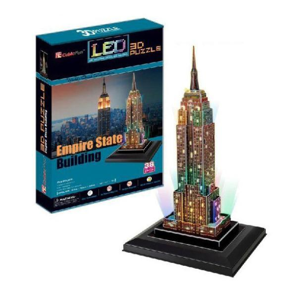 T0468 3D Puzzles Empire State Building DIY Building Paper Model kids Creative gift Educational toys Luxury colorful LED version