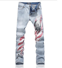 Men's personality Skull print jeans Male fashion slim fit denim pants Straight long trousers Plus Size 28-38