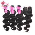 Queen Hair 3pcs Brazilian Virgin Hair With Lace Closure Body Wave Total 4Pcs/Lot For A Full Head Shipping Free DHL