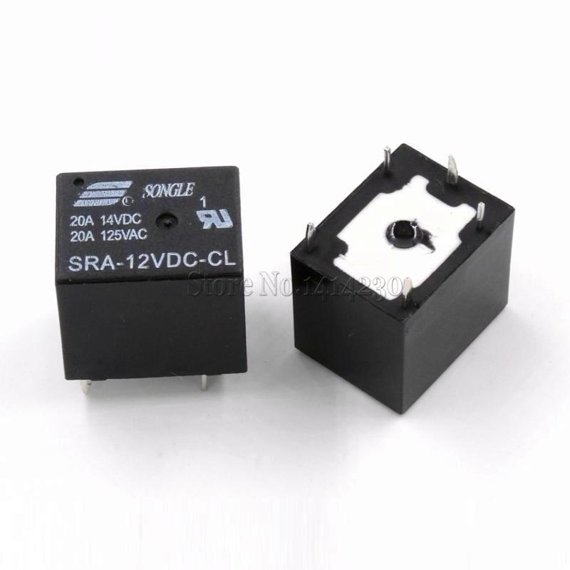 Реле питания постоянного тока, 10 шт., 12 В, 20 А, 5 pin, Тип печатной платы, в наличии, черное автомобильное реле