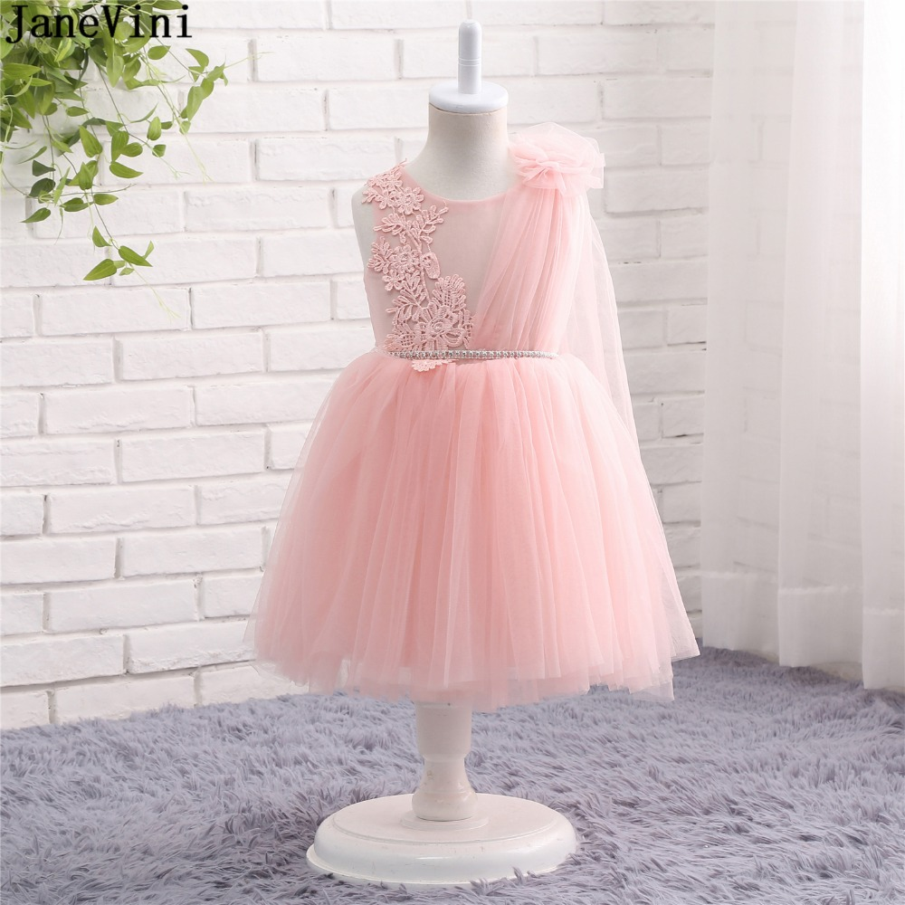 JaneVini 2019 Lovely Pink   Flower     Girl     Dresses   with Lace Appliques Scoop Neck Illusion Back Tulle A Line kids Wedding Party Gowns