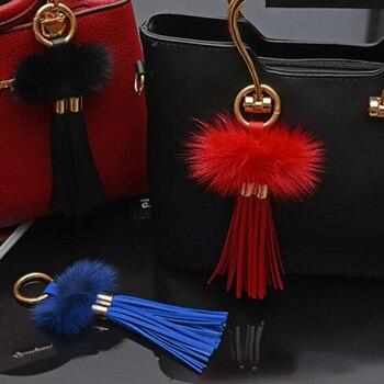 New Design Real Mink Fur Ball Leather Tassel Bag Car Key chain  Key ring Car or Bag Charm souvenir