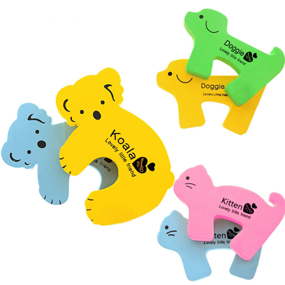 Random Color Safety Guard Finger Protector Thick Child Kids Baby Animal Cartoon Jammers Stop Door Stopper Holder Lock