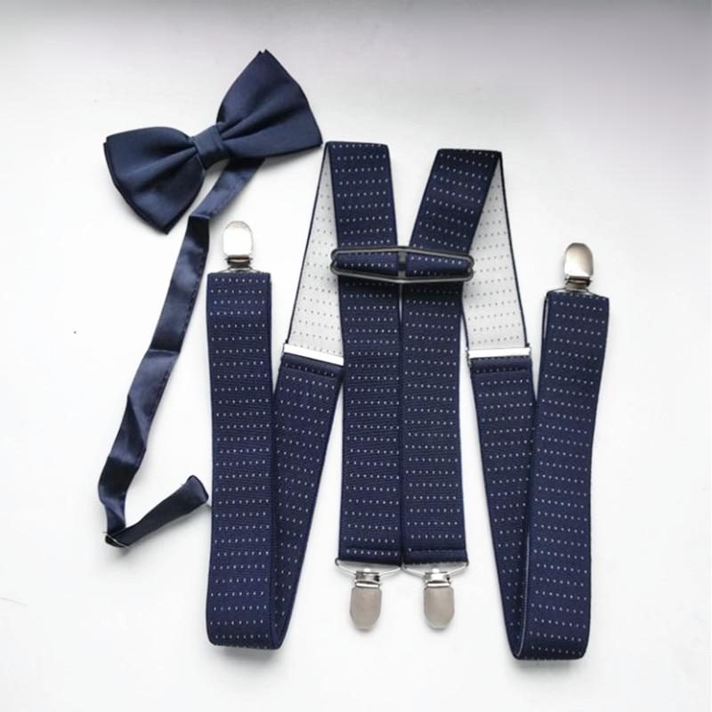 LB066- Adult Supenders And Bowtie Sets 3.5 Width Dot Strap Big Size X-back Suspender Bow Tie Set For Men Women Wedding
