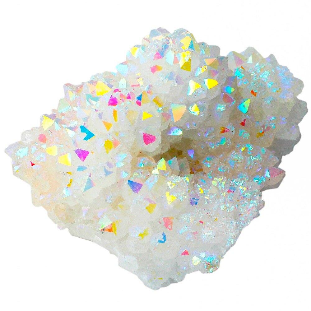 TUMBEELLUWA Angel Aura Quartz Natural Crystal Cluster Geode Healing Gemstone Home Decoration Specimen