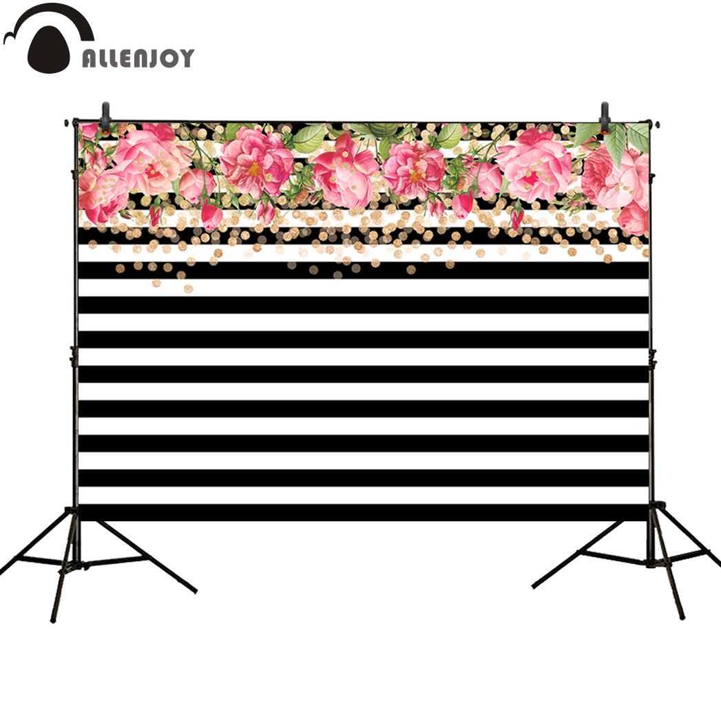 Allenjoy photo background gold dots pink flower white and black stripes birthday new backdrops photocall for a photo shoot