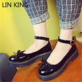 LIN KING New Arrival Women Casual Shoes Low Heel Ankle Strap Round Toe Leisure Shoes Thick Sole Solid PU Bowtie Lolita Shoes