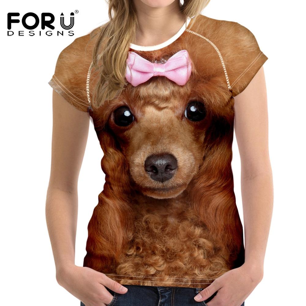 FORUDESIGNS 3D Pug Dog tištěné dámské tričko s dlouhým rukávem Europ Summer Women / Girl Funny Animal Cool Novinka Krátký rukáv Tee Tops Oblečení