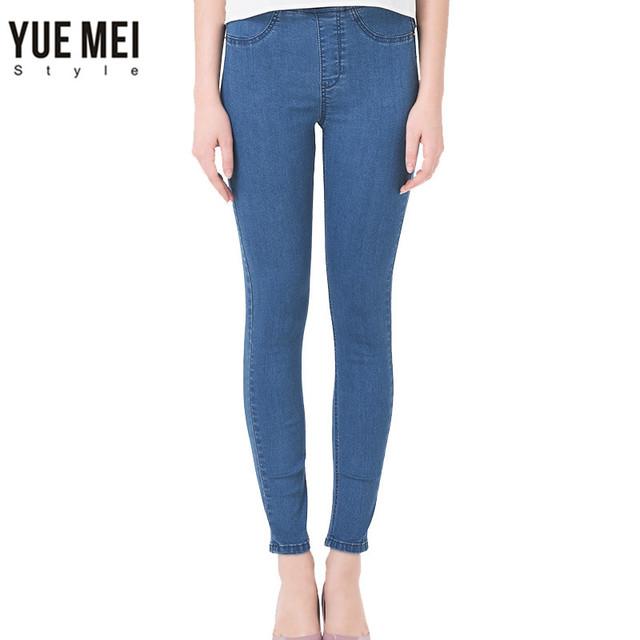 2017 calças de Brim da Mulher plus size Ocasional calça jeans de Cintura alta skinny Jeans Calças Azul Preto Marca de Jeans Quentes para as mulheres