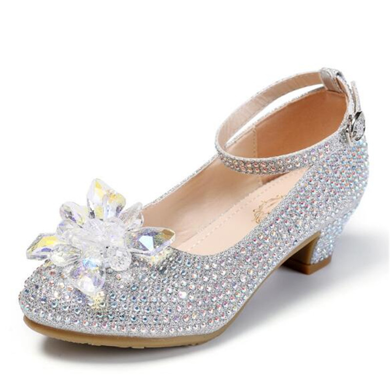 New Children Crystal Shoes Performance Dance Rhinestone Girls Leather Shoes Princess Glass Flower Kids Shoes High-heeled 02A