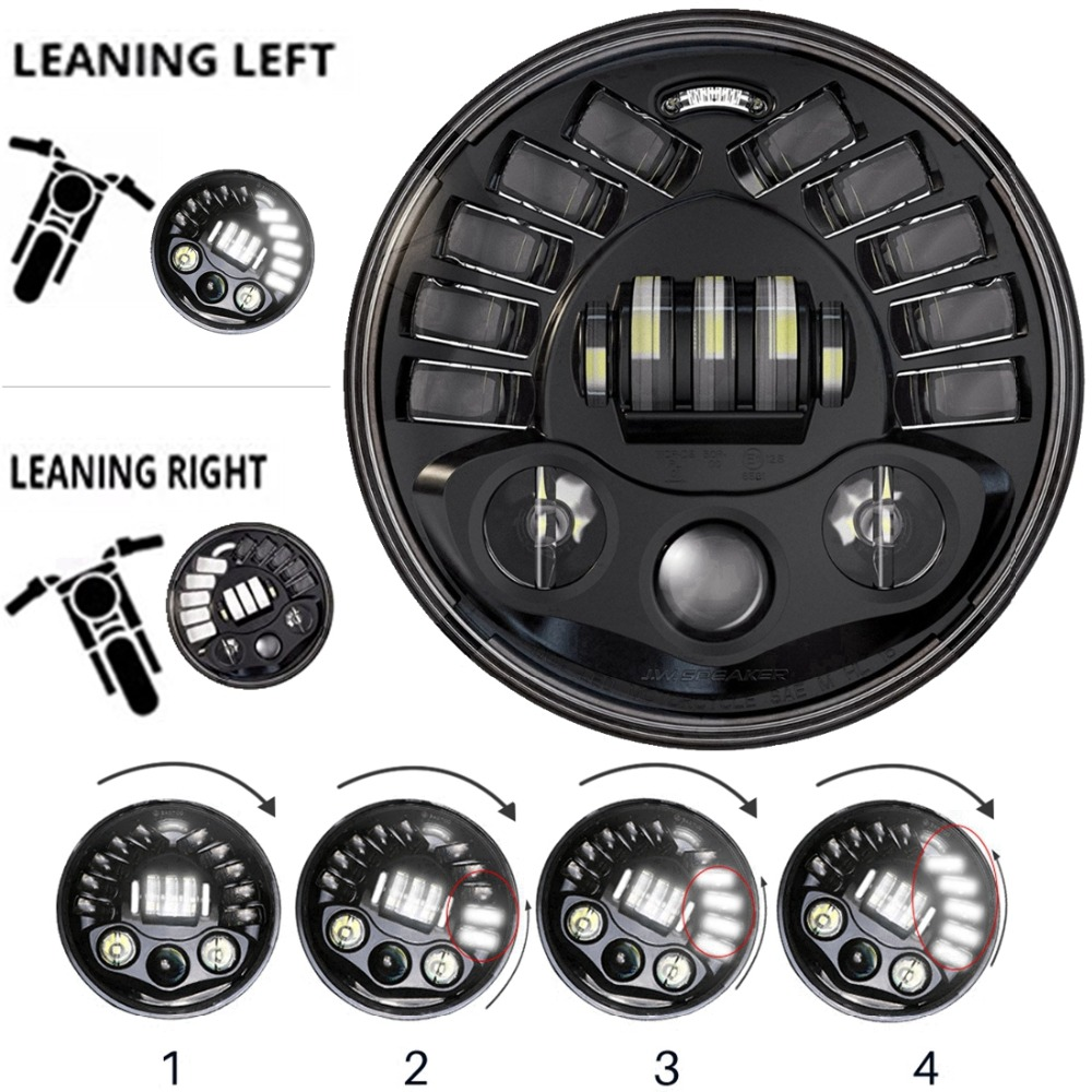 New For Motor Motorcycle 7inch Round Adaptive LED Headlight High Low Beam 7