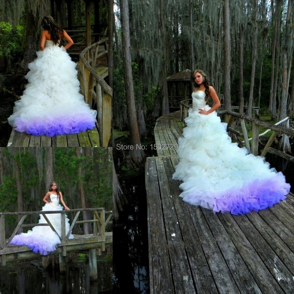 Popular purple wedding dress buy cheap purple wedding for Blue and black wedding dresses