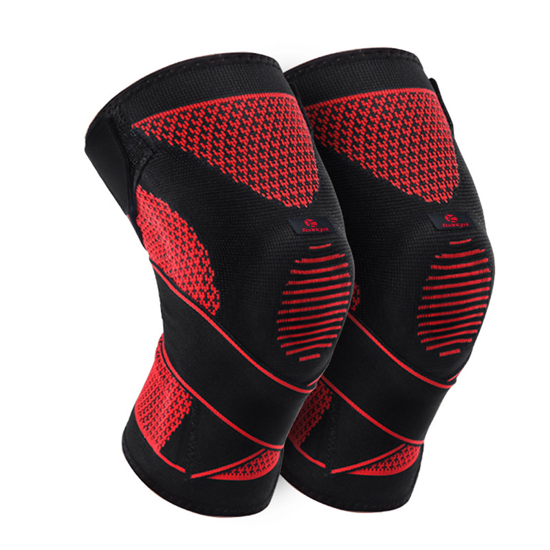 Kuangmi 1 Pair Brace Support relief the pain Compression Knee Sleeve Sports Silicone Knee Pads Basketball Patella Protector