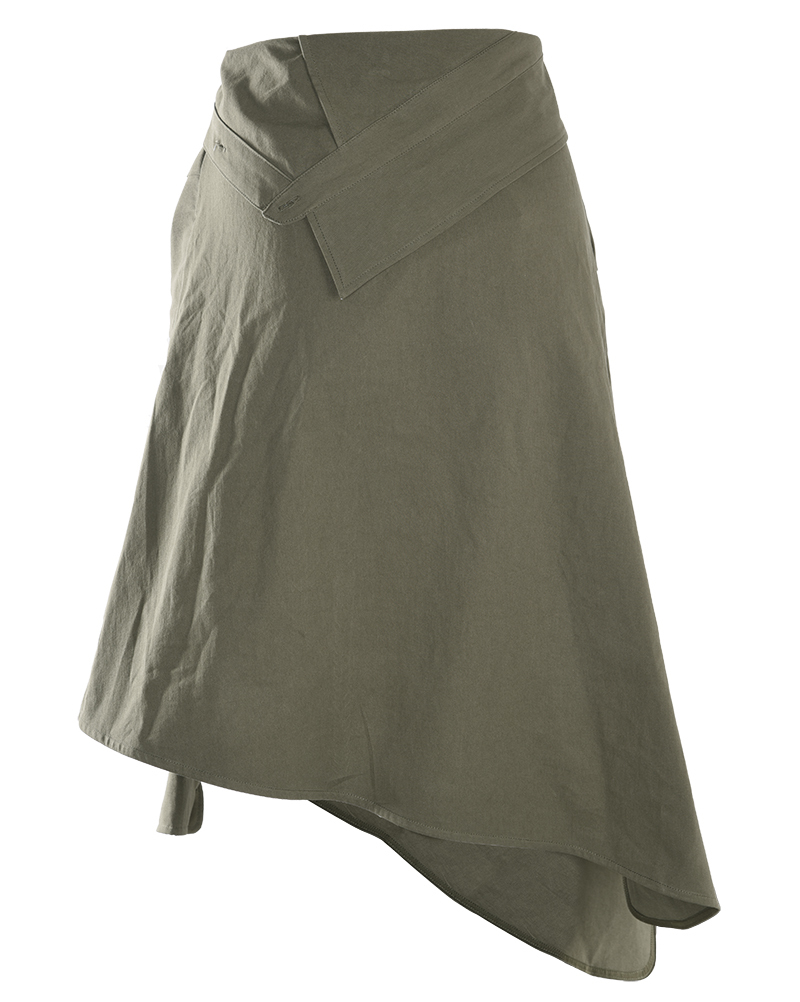 [EAM] 2019 New Spring High Waist Army Green Knot Irregular Split Joint Loose Half-body Skirt Women Fashion Tide JG664