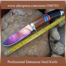 Color titanium stainless steel knife fixed blade camping knife hunting knife damascus steel blade knife gift self defense DT111