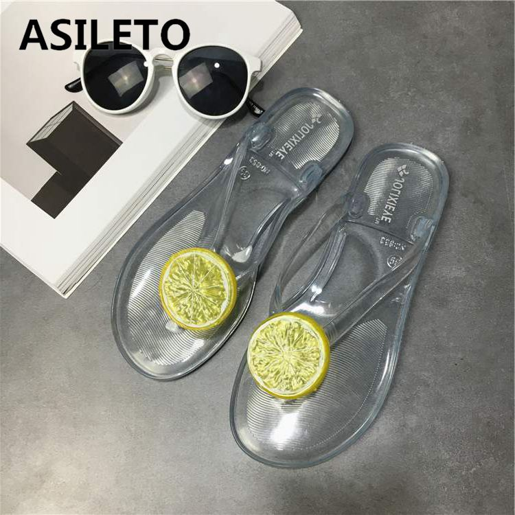 ASILETO Outside Summer Slippers Flip Flops Bowtie Jelly Shoes Women Sandals Female Candy Color Beach Shoes slides chaussures