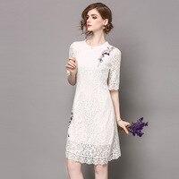 Spring SummerLG Designer Woman Dresses White Pink Lace Dress Purple Flower Embroidery Shoulder Fashion Vintage Lace