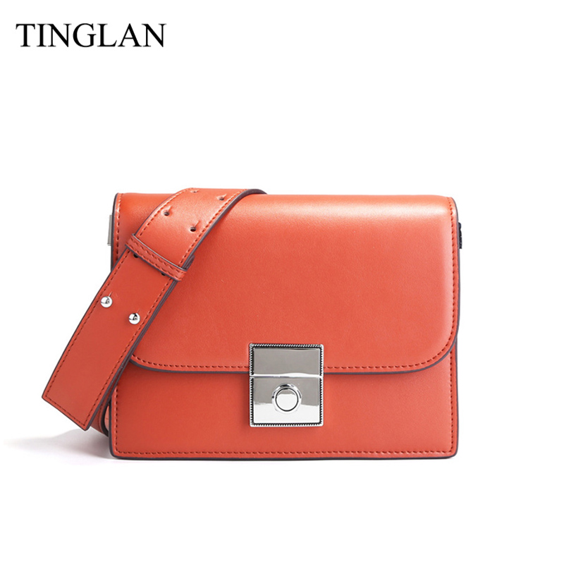TINGLAN Genuine Leather Small Messenger Bags for Women Mini Shoulder Crossbody Bags Famous Designer Ladies Flap Leather Bag 2018 miyahouse summer women messenger bags canvas leather cartoon owl printed crossbody shoulder bags small ladies flap bag casual