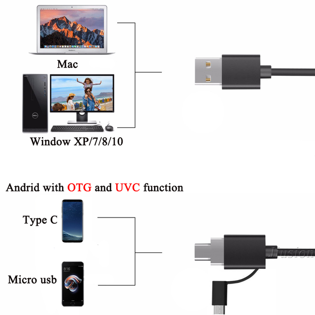 Video Endoscope Usb Type-C Flexible Camera Mini Camcorder