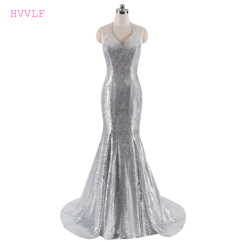 Silver Evening Dresses 2018 Mermaid Halter Sequins Sparkle Backless ...