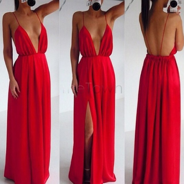 41a9bb17a7 High Split Women Dress Evening Party Elegant Long Dress Sexy Red Spaghetti  Strap Backless Pleated Maxi