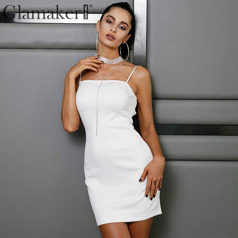 Buy Glamaker Sexy lace backlesss party dress Women suede leather mini dress vestidos Halter bandage bodycon summer dress sundress