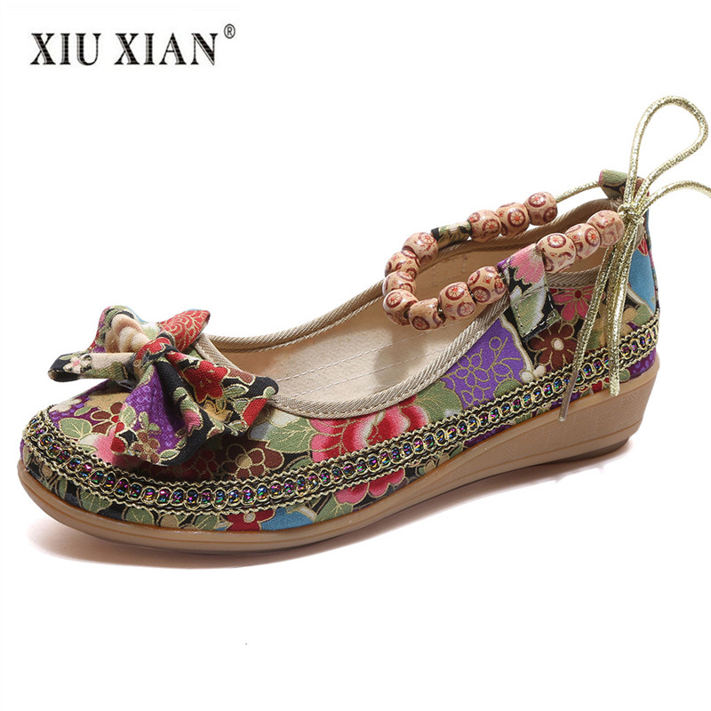 2018 New Original Ethnic Cloth Big Size Women Flats Thick Bottom Non Slip Comfort Summer Shoes Hot Fashion Beads Weave Lady Shoe vintage embroidery women flats chinese floral canvas embroidered shoes national old beijing cloth single dance soft flats