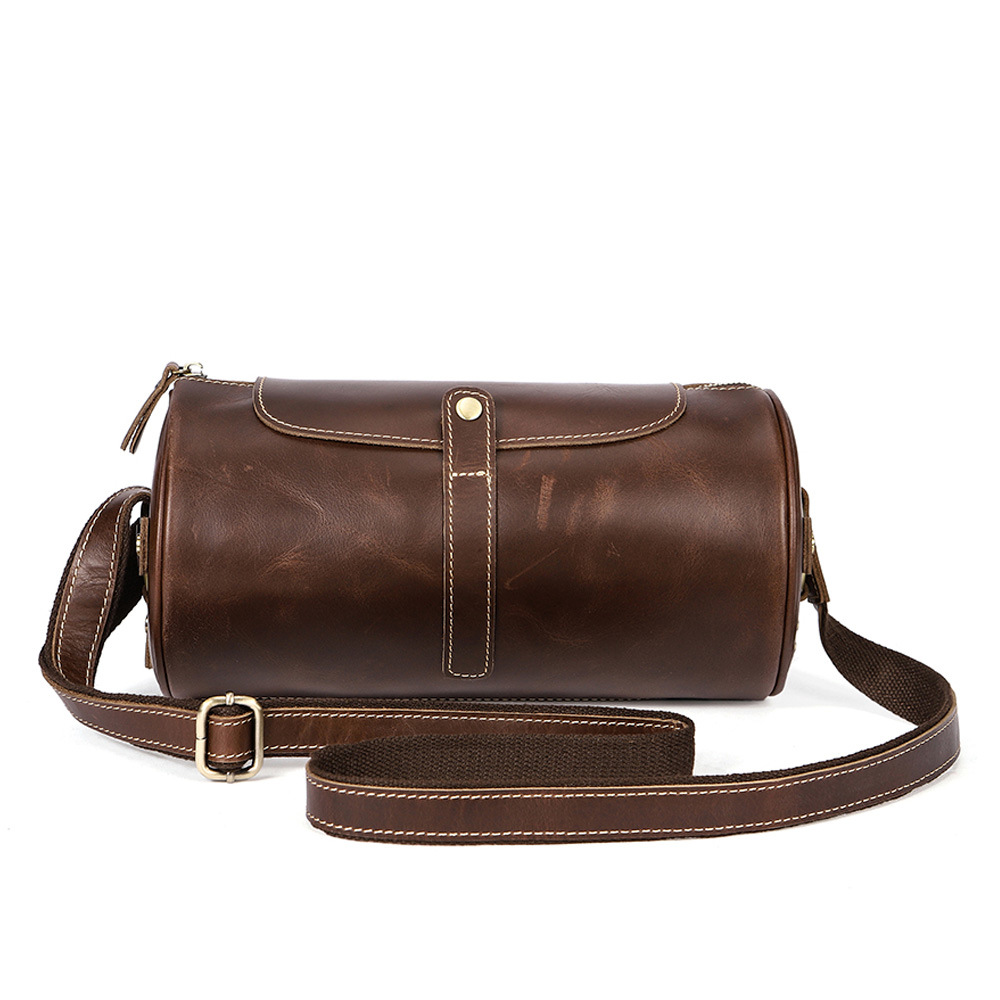 Cover type leather men's bag cylinder men shoulder bags Europe and the United States retro Cow Leather Men Messenger bags europe and the united states fashion hit color cow split leather shoulder bag retro simple minimalist leather handbag