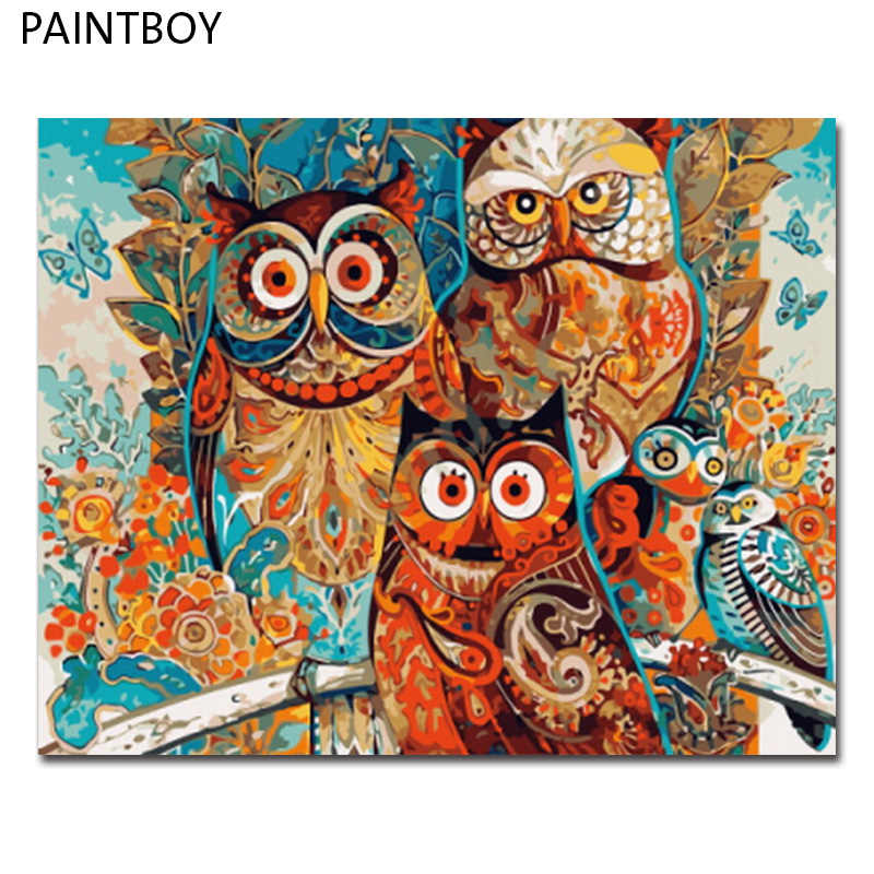 PAINTBOY Framed Picture Oil Painting By Numbers Animal DIY Oil Painting On Canvas Home Decor For Living Room 40*50cm GX8849