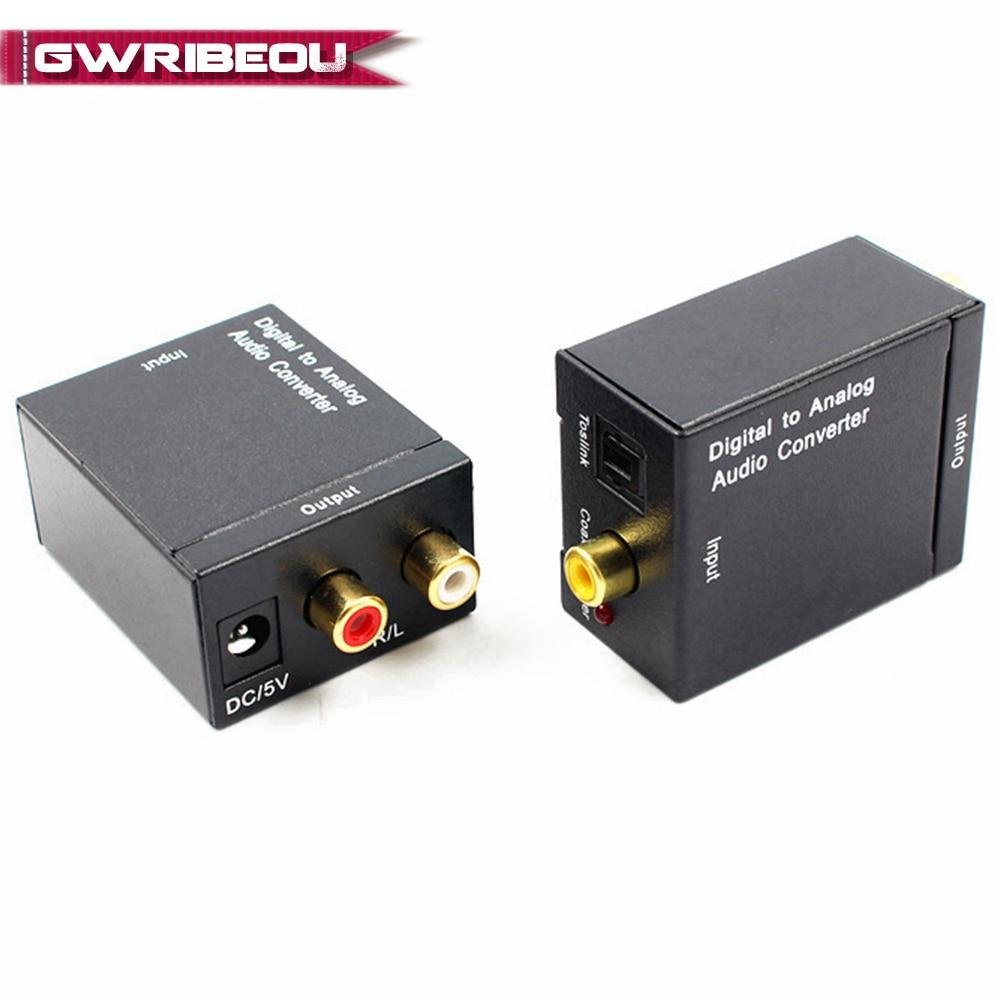 De Digital a analógico de Audio convertidor de fibra óptica Toslink Coaxial señal RCA R/L decodificador de Audio SPDIF ATV DAC amplificador adaptador