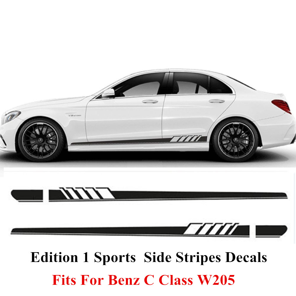 Charming Horse 2168 Store Gloss Black Auto Side Skirt Car Sticker AMG Edition 507 Racing Stripe Side Body Garland for Mercedes Benz C Class W205