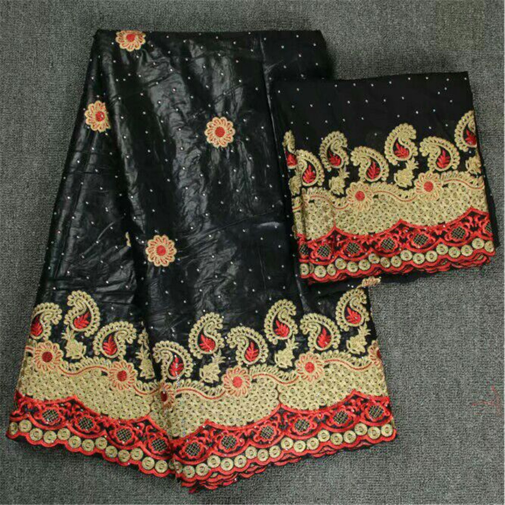 2018 New arrival African Bazin Riche Getzner fabric with Embroidery lace for dress African lace fabric