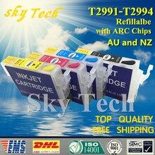 Cartuchos de Tinta Recargables Vacíos Para T2991 T29-juego para XP-235 T2994 XP-245 XP-247 XP-332 XP-335 XP-342 etc, con las Virutas Del ARCO