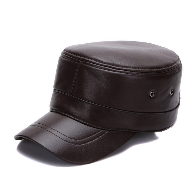 9da3bf4c9fe3 Fibonacci High Quality Sheepskin Leather Military Cap Autumn Winter Flat  Hats for Men Women