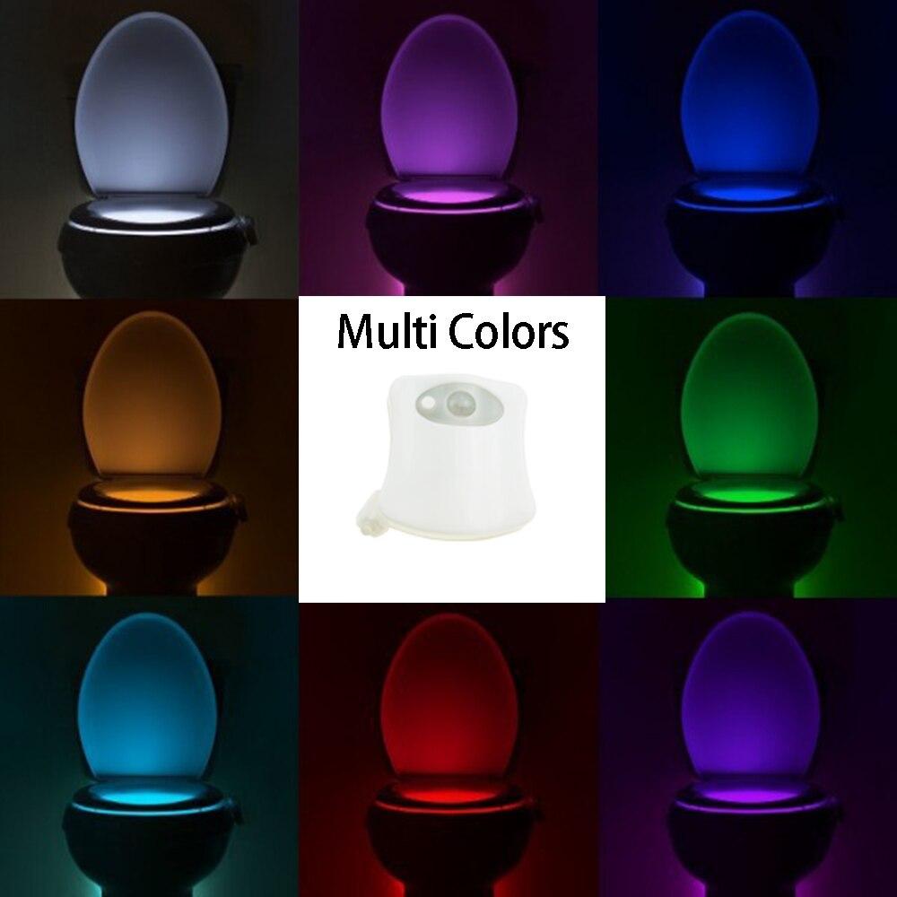 1 Pcs Toilet Motion Light Changable Color With PIR Sensor Seat LED Lamp Night Light Toilet Bowl White Body Fast Ship HN