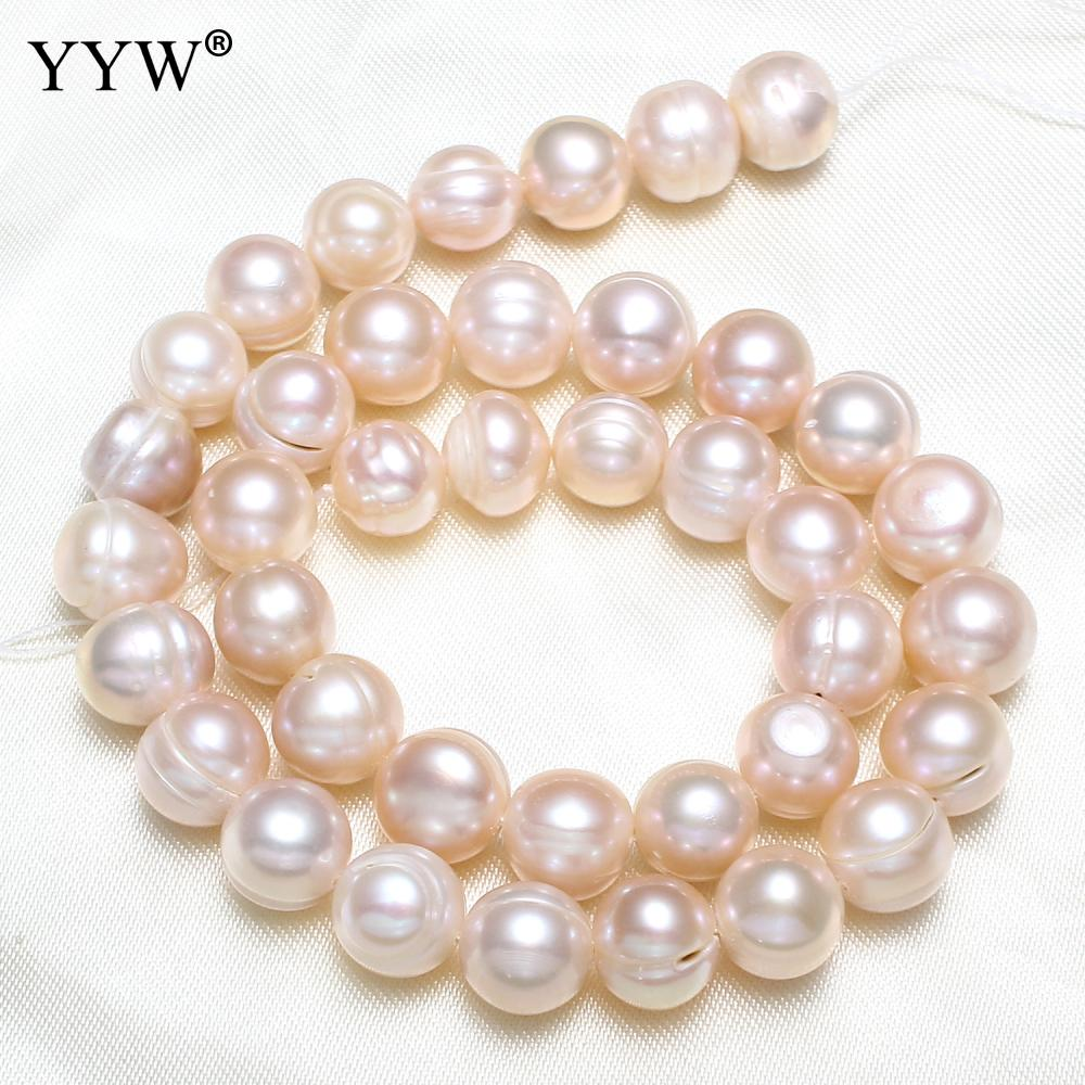 YYW Cultured Round Freshwater Pearl Beads Natural 10-11mm Approx 0.8mm Sold Per Approx 15 Inch Strand