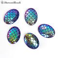"DoreenBeads Resin Mermaid Fish /Dragon Scale Dome Seals Cabochon Oval Purple AB Color 18mm( 6/8"") x 13mm( 4/8""), 50 PCs"